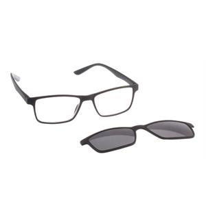 Magnetic Sun Black +2 Lesebrille med magnetisk clip-on